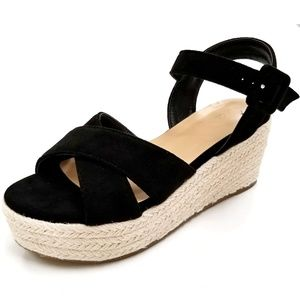 New Black Cross Straps Wedge Espadrille Sandals